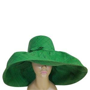 Hand Woven Green Madagascar Big Brim Raffia Hat
